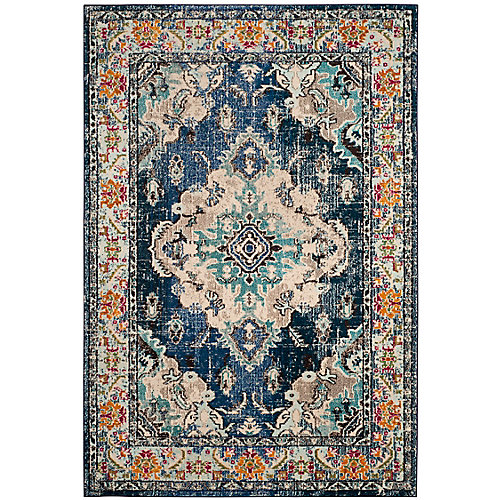Monaco Moses Navy / Light Blue 5 ft. 1-inch x 7 ft. 7-inch Indoor Area Rug