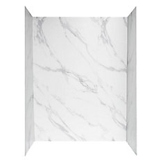 60 inch X 32 inch Shower Wall System in Carrara White