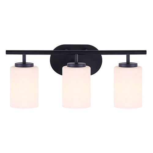 Home Decorators Collection Luminaire pour meuble-lavabo à 3 ampoules avec diffuseur plat en verre opale TATUM, noir mat