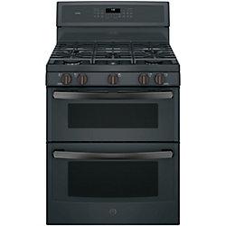 GE Profile 30-inch 6.8 cu. ft. Double Oven Gas Range in Black Slate