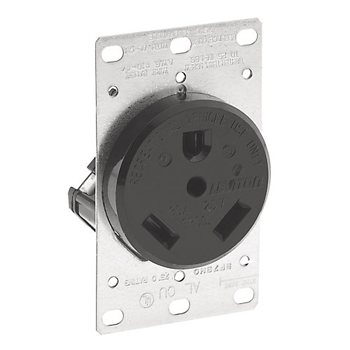 30 Amp, 125 Volt Flush Mouting Receptacle, Straight Blade (For Recreational Vehicles) - Black