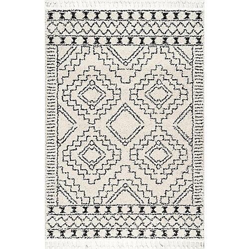Tapis d'intérieur, 5 pi 3 po x 7 pi 7 po, Vasiliki Morocain Tribal Tassel, ivoire