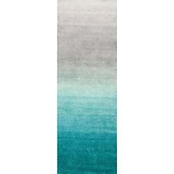 nuLOOM Handmade Ombre Shag Turquoise 2 ft. 6-inch x 10 ft. Indoor Runner
