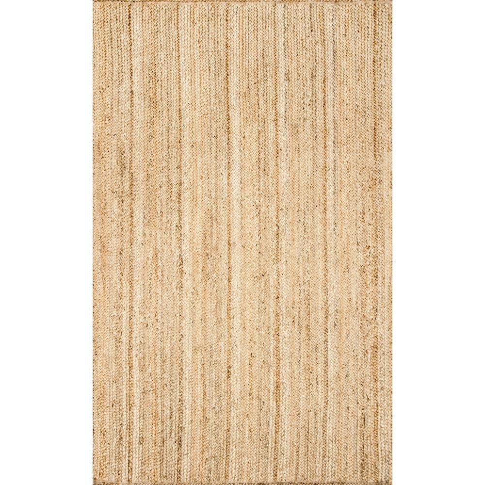 nuLOOM Hand Woven Rigo Jute Rug Natural 9 ft. x 12 ft. Indoor Oval Rug