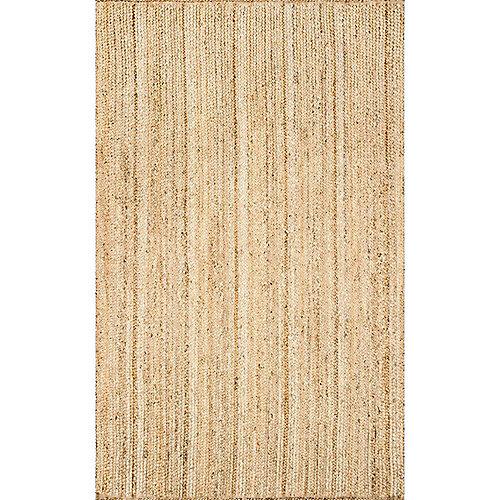 Tapis d'intérieur tissé à la main de jute, 8 pi x 10 pi, Rigo, naturel