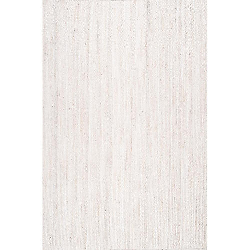 Tapis d'intérieur tissé à la main de jute, 5 pi x 8 pi, Rigo, ivoire