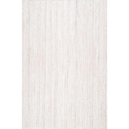 Tapis d'intérieur tissé à la main de jute, 9 pi x 12 pi, Rigo, ivoire