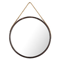 Round Hanging Metal II Wall Mirror with rope