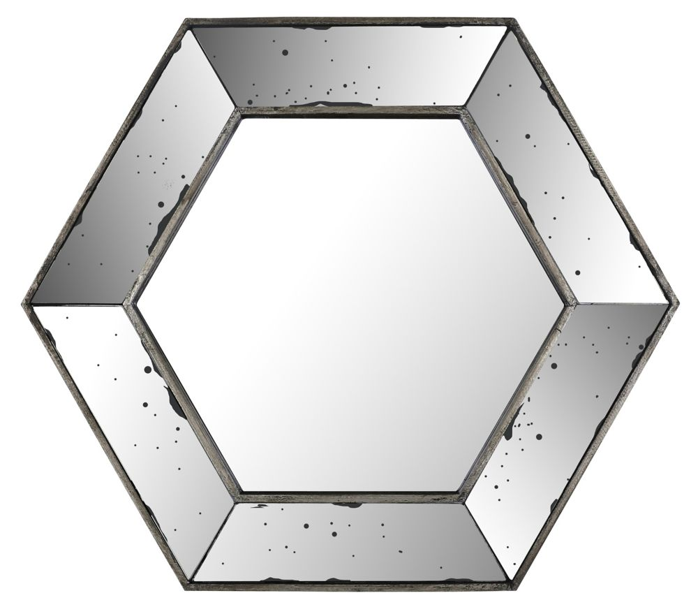 Art Maison Canada 20.47x17.72 Hexagon Mirror, Mirrored frame, Ready to hang