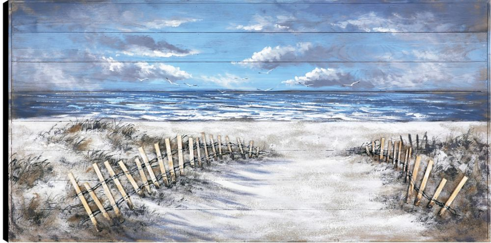 Art Maison Canada 30x60 Walk to the Beach, Frameless Hand painted on Wood, Ready to hang