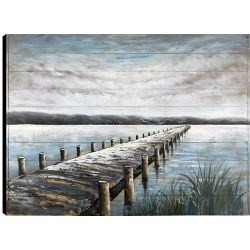 Art Maison Canada 36x48 Lake Trail, Frameless Hand painted on Wood, Ready to hang