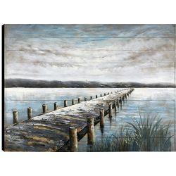 Art Maison Canada 36 x 48 Lake Trail, Frameless main peinte sur bois, prêt à accrocher