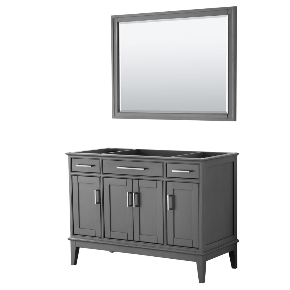 Wyndham Collection Margate 48 Inch Single Vanity in Dark Gray, No Countertop, No Sink, 44 Inch Mirror