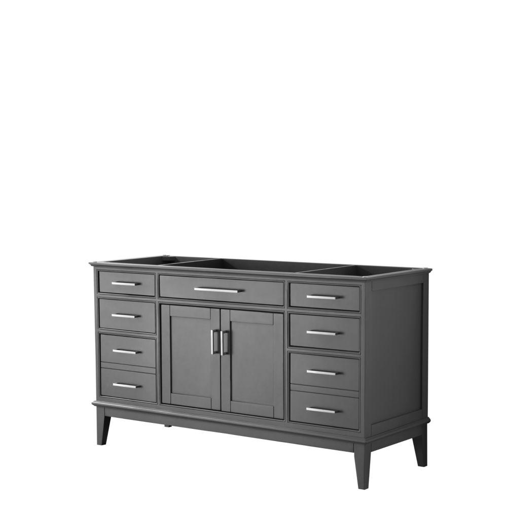 Wyndham Collection Margate 60 Inch Single Vanity in Dark Gray, No Countertop, No Sink, No Mirror
