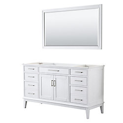 Wyndham Collection Margate 60 Inch Single Vanity in White, No Countertop, No Sink, 56 Inch Mirror