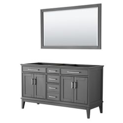 Wyndham Collection Margate 60 Inch Double Vanity in Dark Gray, No Countertop, No Sink, 56 Inch Mirror