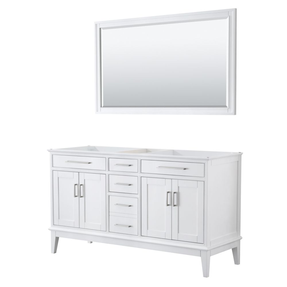 Wyndham Collection Margate 60 Inch Double Vanity in White, No Countertop, No Sink, 56 Inch Mirror