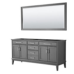 Wyndham Collection Margate 72 Inch Double Vanity in Dark Gray, No Countertop, No Sink, 70 Inch Mirror