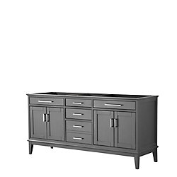 Wyndham Collection Margate 72 Inch Double Vanity in Dark Gray, No Countertop, No Sink, No Mirror