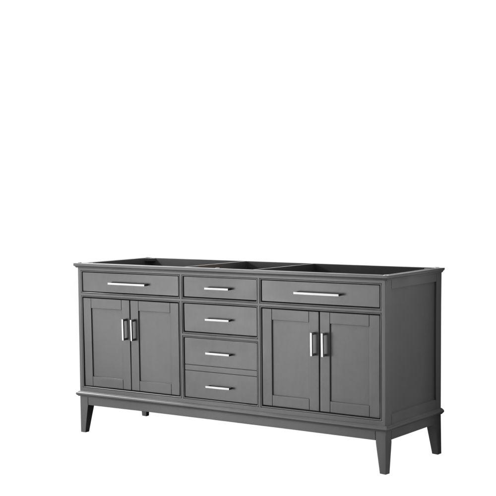 Wyndham Collection Margate 72 Inch Double Vanity in Dark Gray, No Countertop, No Sink, No Mirror