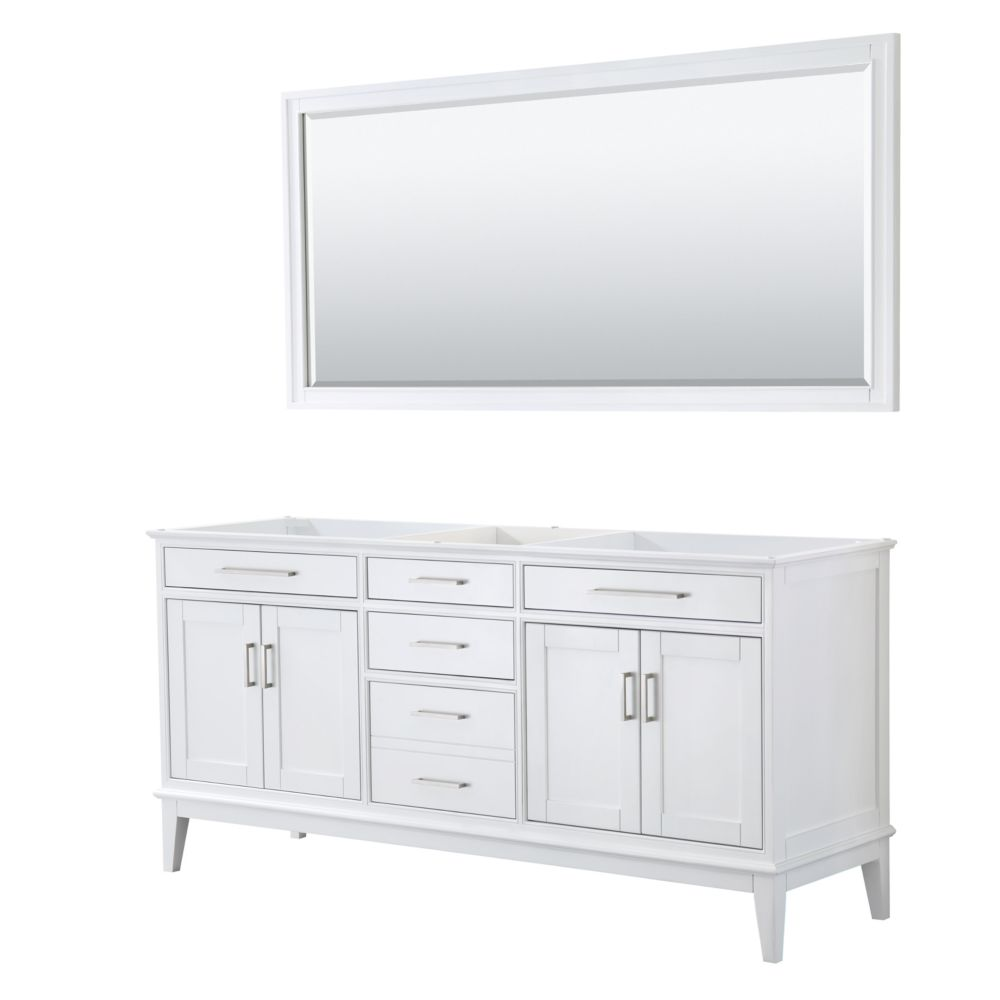 Wyndham Collection Margate 72 Inch Double Vanity in White, No Countertop, No Sink, 70 Inch Mirror