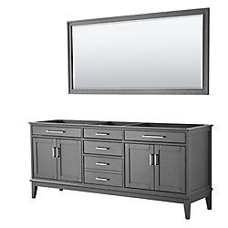 Wyndham Collection Margate 80 Inch Double Vanity in Dark Gray, No Countertop, No Sink, 70 Inch Mirror