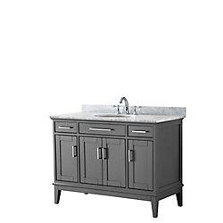 Wyndham Collection Margate 48 Inch Single Vanity in Dark Gray, Carrara Marble Top, Oval Sink, No Mirror