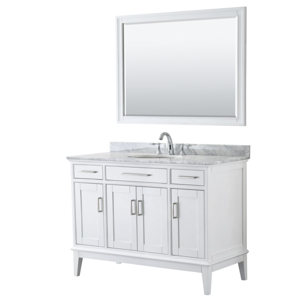 Wyndham Collection Margate 48 Inch Single Vanity in White, Carrara Marble Top, Oval Sink, 44 Inch Mirror