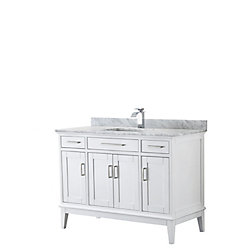 Wyndham Collection Margate 48 Inch Single Vanity in White, Carrara Marble Top, Square Sink, No Mirror
