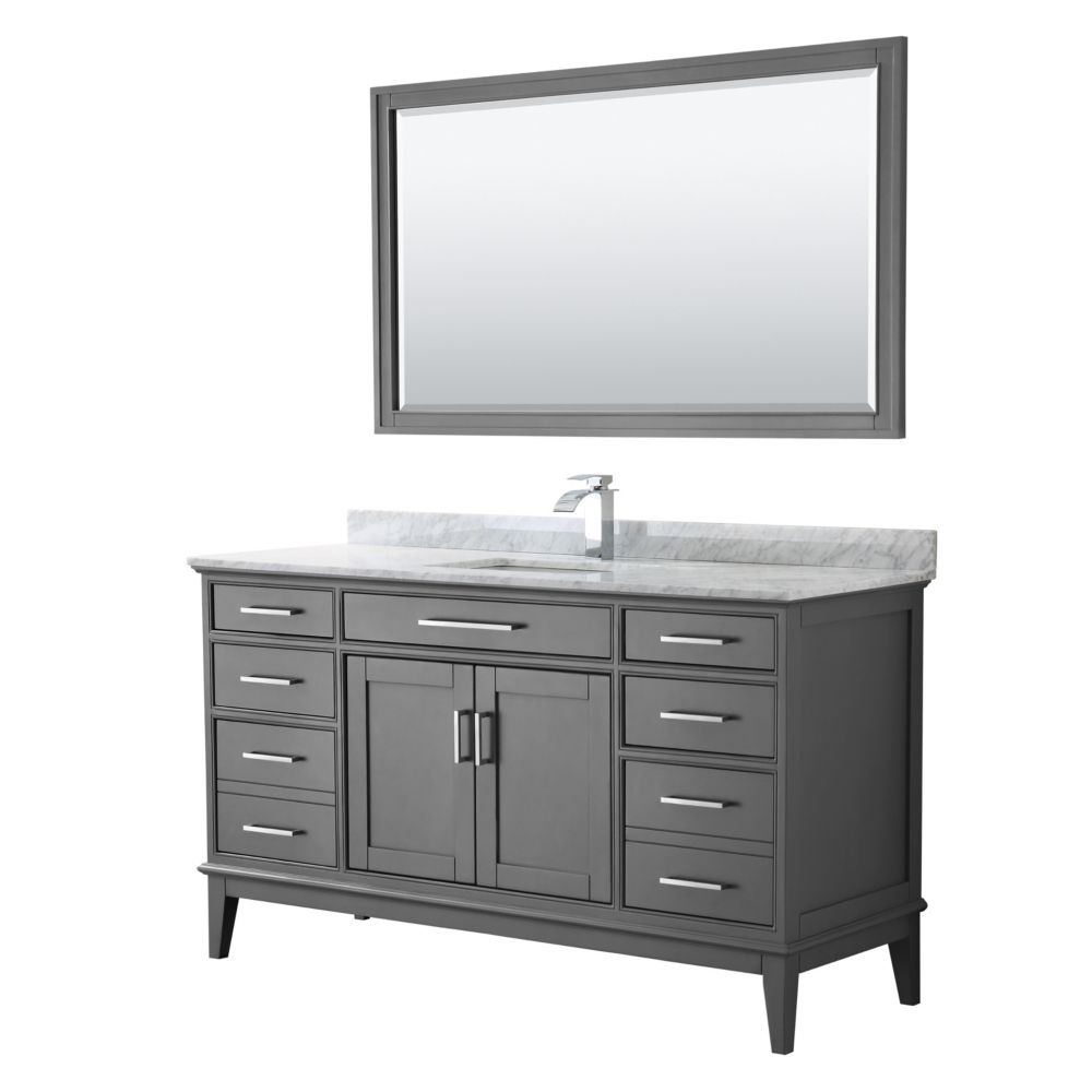 Wyndham Collection Margate 60 Inch Single Vanity in Dark Gray, Carrara Marble Top, Square Sink, 56 Inch Mirror