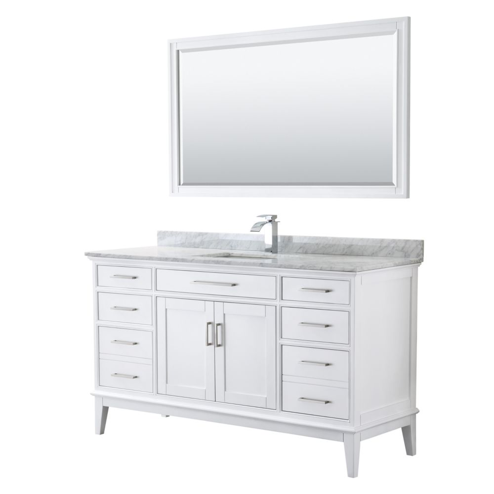 Wyndham Collection Margate 60 Inch Single Vanity in White, Carrara Marble Top, Square Sink, 56 Inch Mirror