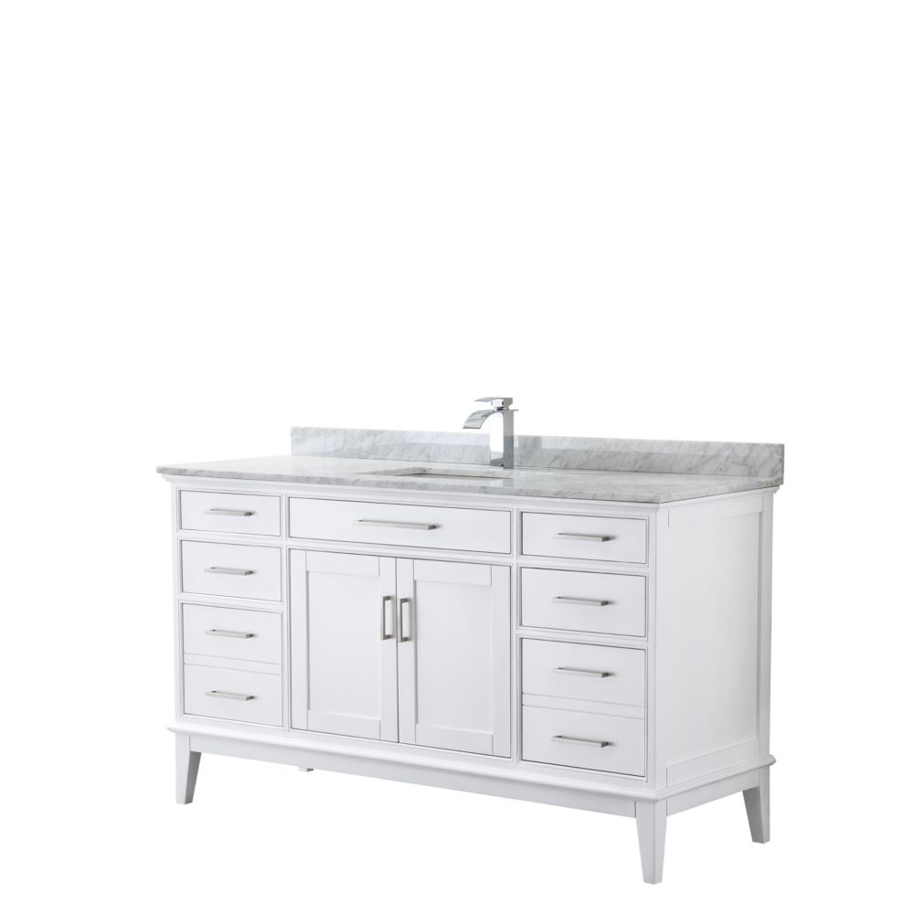 Wyndham Collection Margate 60 Inch Single Vanity in White, Carrara Marble Top, Square Sink, No Mirror