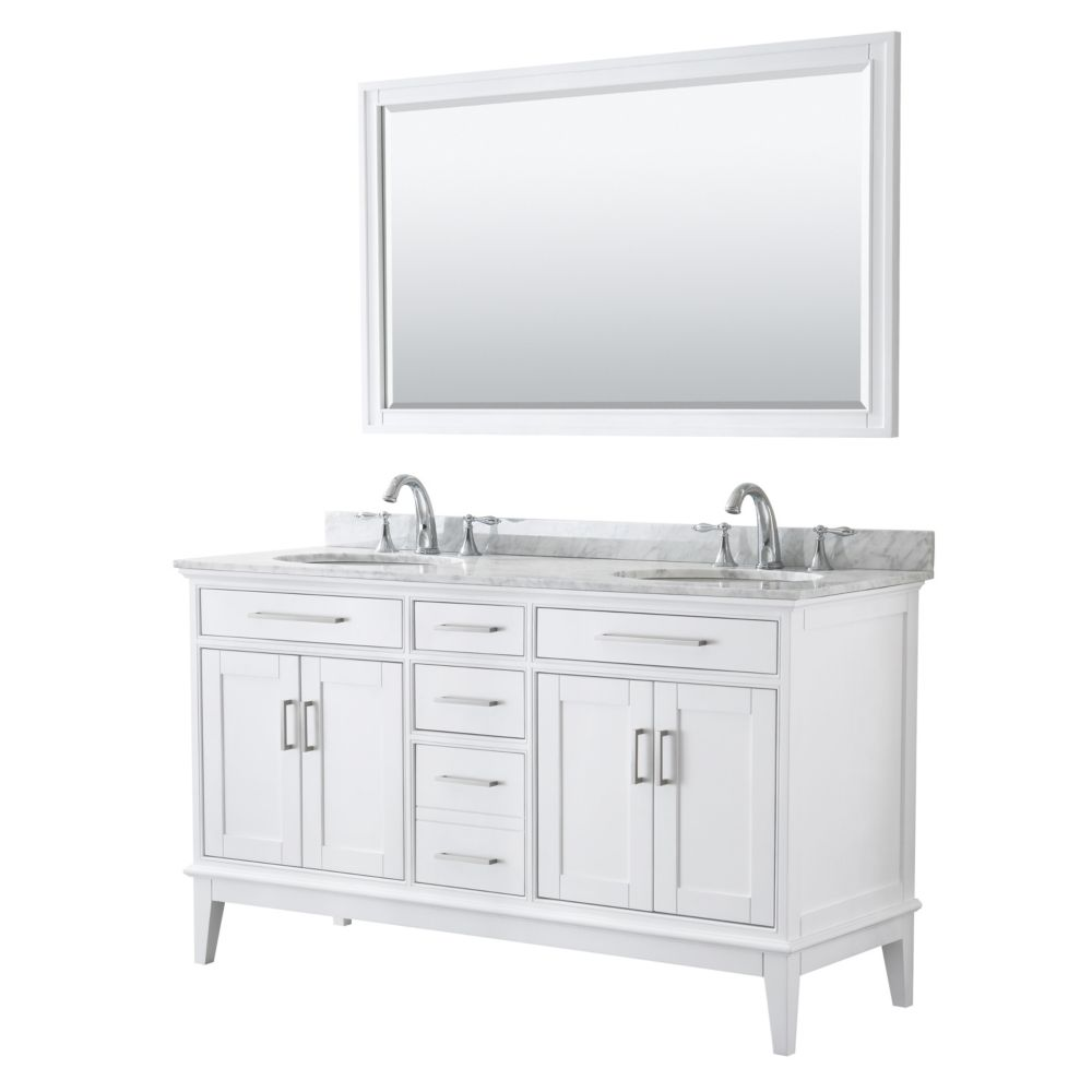 Wyndham Collection Margate 60 Inch Double Vanity in White, Carrara Marble Top, Oval Sinks, 56 Inch Mirror