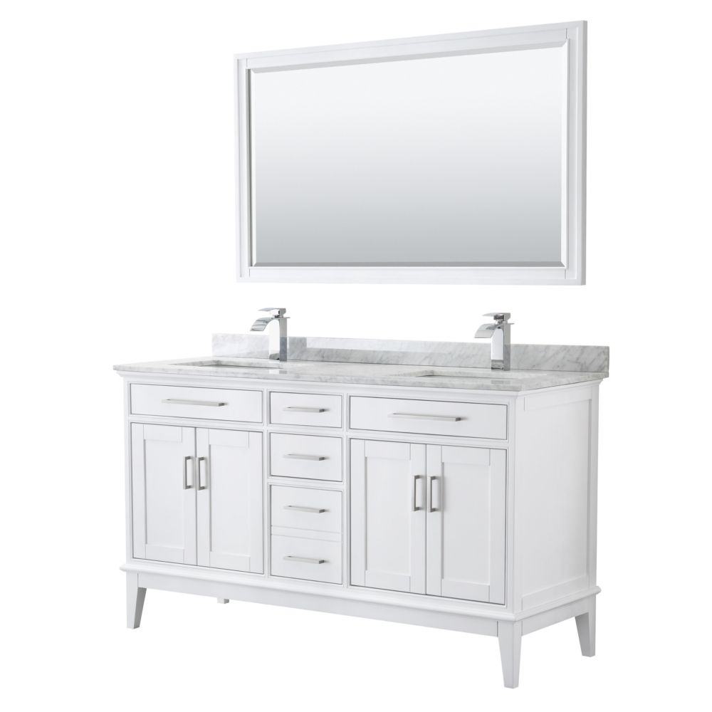 Wyndham Collection Margate 60 Inch Double Vanity in White, Carrara Marble Top, Square Sinks, 56 Inch Mirror