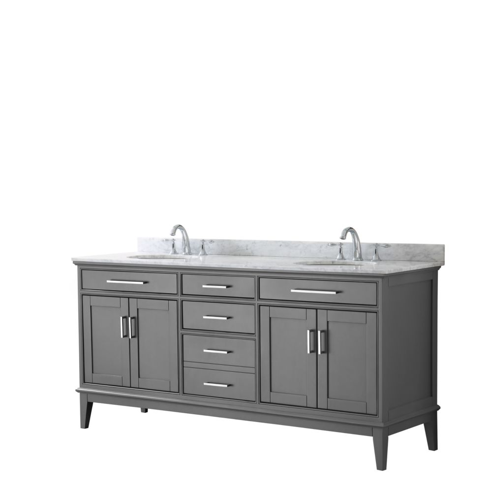 Wyndham Collection Margate 72 Inch Double Vanity in Dark Gray, Carrara Marble Top, Oval Sinks, No Mirror