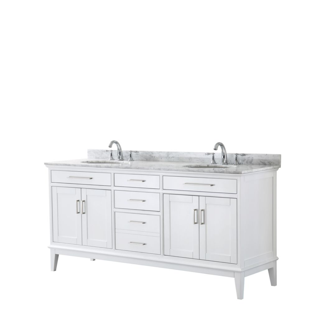 Wyndham Collection Margate 72 Inch Double Vanity in White, Carrara Marble Top, Oval Sinks, No Mirror