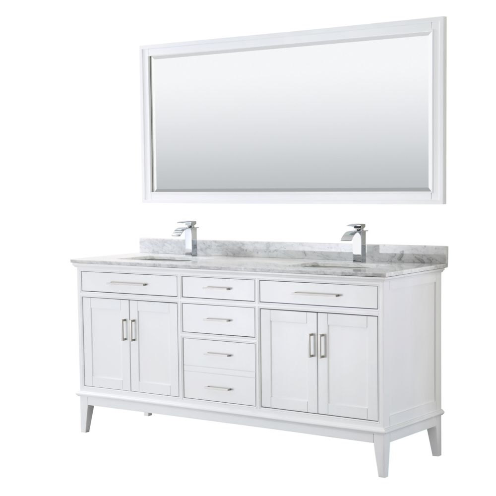 Wyndham Collection Margate 72 Inch Double Vanity in White, Carrara Marble Top, Square Sinks, 70 Inch Mirror
