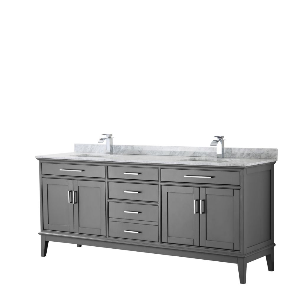 Wyndham Collection Margate 80 Inch Double Vanity in Dark Gray, Carrara Marble Top, Square Sinks, No Mirror