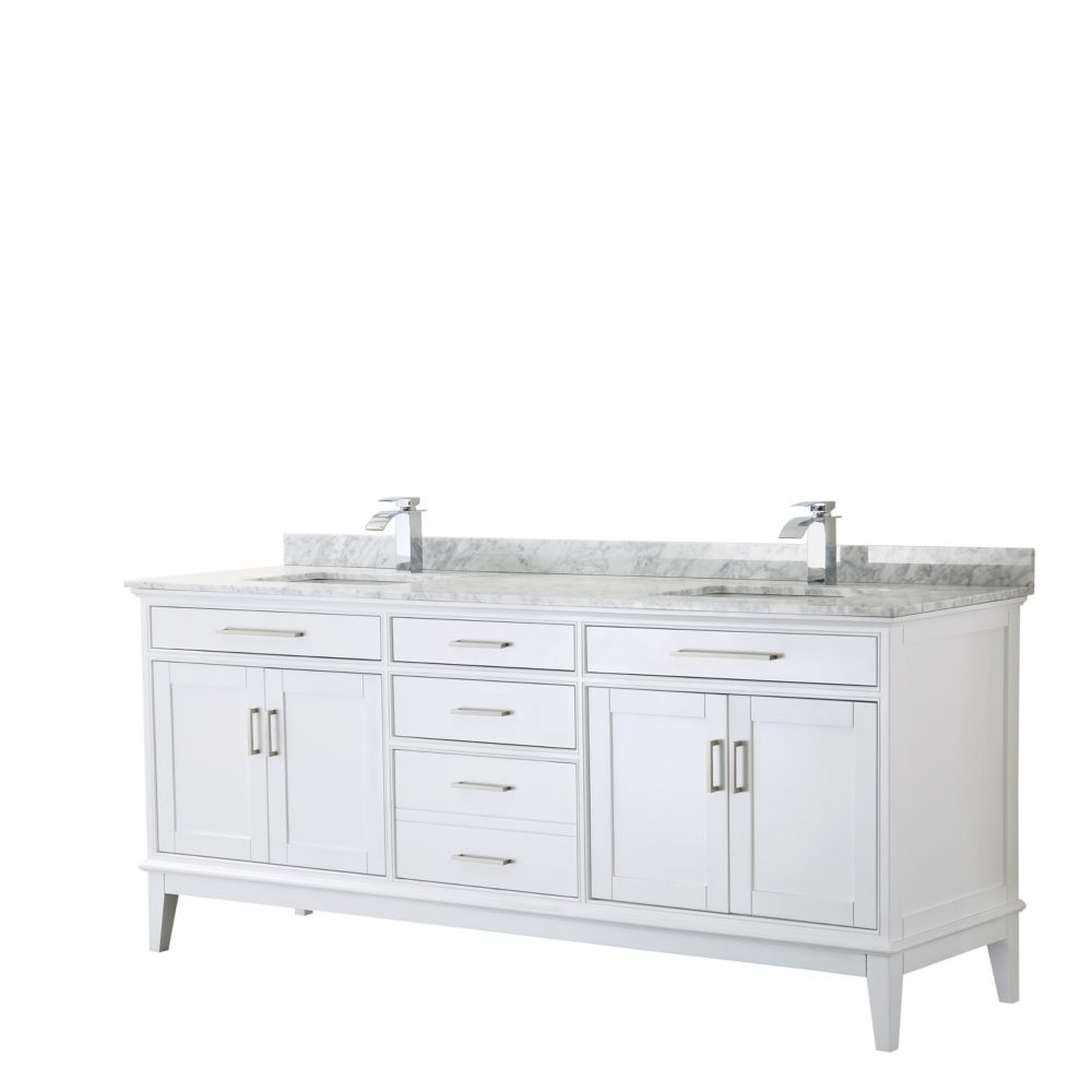 Wyndham Collection Margate 80 Inch Double Vanity in White, Carrara Marble Top, Square Sinks, No Mirror