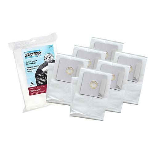 Sacs de rechange antiallergiques, compatibles avec l'aspirateur central Kenmore50601, ens. de 6