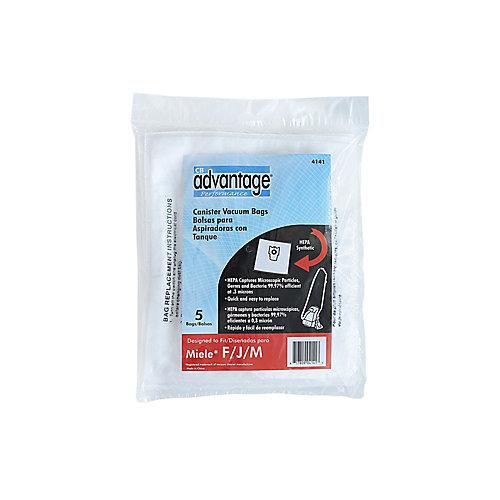 Sacs et filtres pour aspirateur, compatibles avec les F/J/M de Miele, HEPA, ens. de 5sacs/2filtres