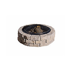 Beltis 43-inch Stone Block Firepit in Earth with Screen