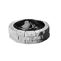 PERMACON Beltis 43-inch Stone Block Firepit in Shadow with Screen