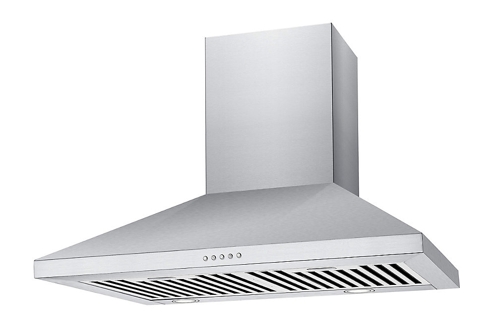 Premium 24-inch Pyramid-Style 500 CFM Wall Mount Range Hood in Stainless Steel with LED Lighting