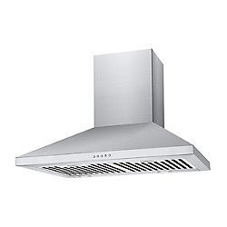 Chambers Premium 36-inch Pyramid-Style 500 CFM Wall Mount Range Hood in Stainless Steel with LED Lighting