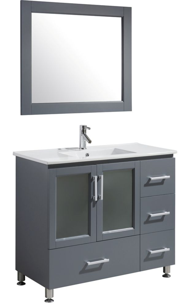Design Element Stanton 40 Inch Single Vanity In Gray With