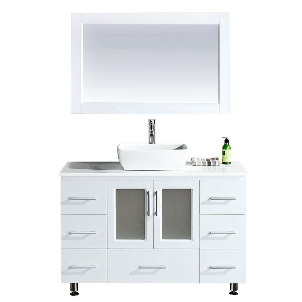 Design Element Stanton B48-VS-W 48 inch Single Vanity in White with Matching Mirror