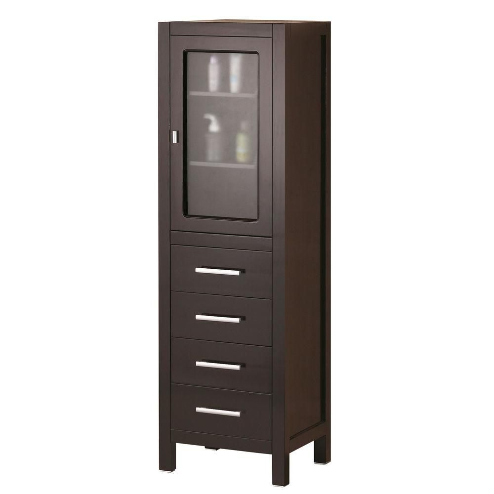 Design Element London 60 inch Linen Cabinet in Espresso