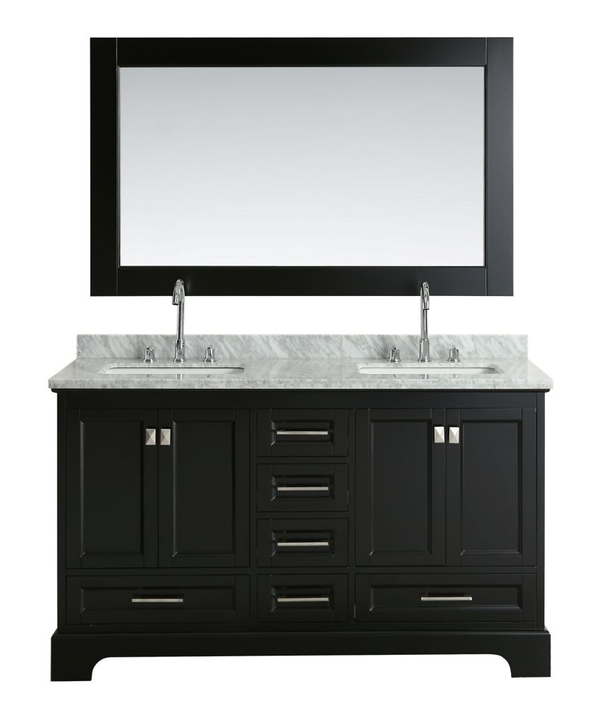 Design Element Omega 61 inch Double Vanity in Espresso with Matching Mirror