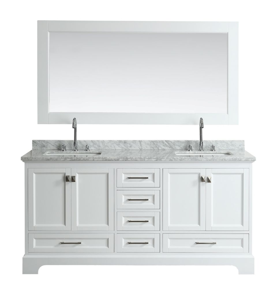 Design Element Omega 72 inch Double Vanity in White with Matching Mirror